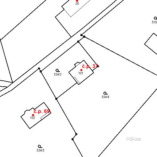 Katastrální mapa Stavební objekt Ždánov 37, Ždánov