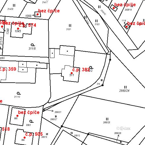 Katastrální mapa Stavební objekt Bor 382, Bor