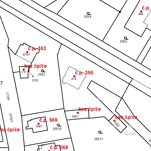 Katastrální mapa Stavební objekt Bor 355, Bor