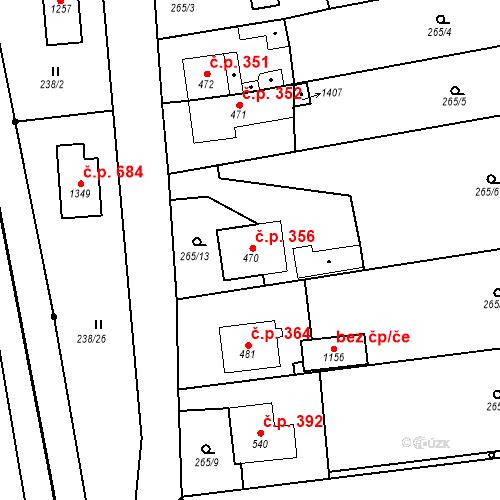Katastrální mapa Stavební objekt Bor 356, Bor
