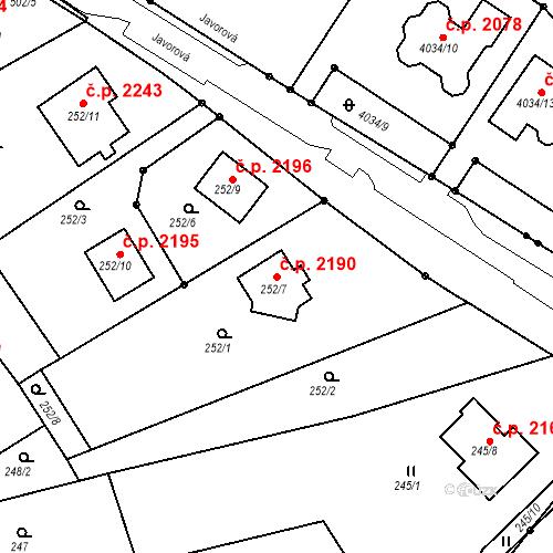 Katastrální mapa Stavební objekt Vítkov 2190, Sokolov