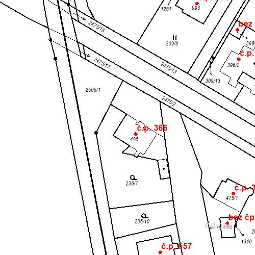 Katastrální mapa Stavební objekt Bor 366, Bor