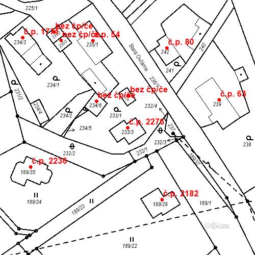 Katastrální mapa Stavební objekt Vítkov 2276, Sokolov