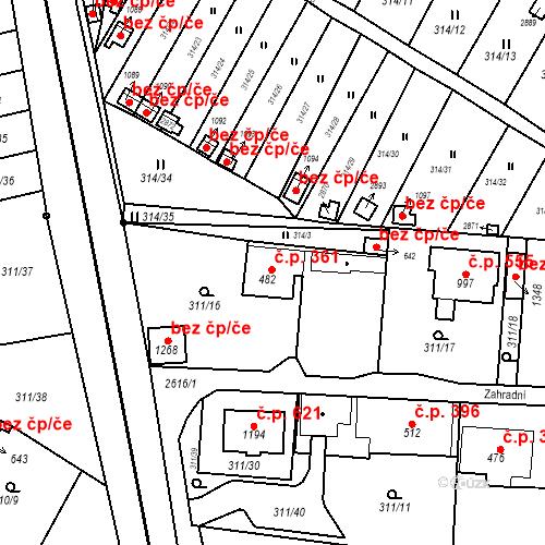 Katastrální mapa Stavební objekt Bor 361, Bor