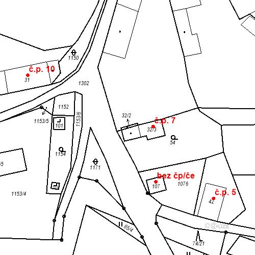 Katastrální mapa Stavební objekt Zámělíč 7, Poběžovice
