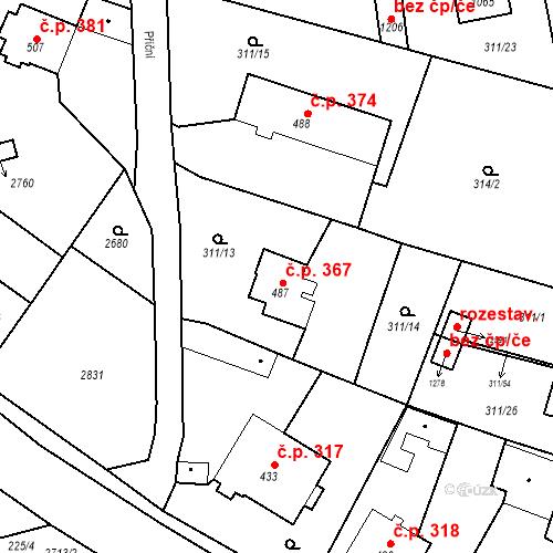 Katastrální mapa Stavební objekt Bor 367, Bor