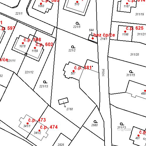 Katastrální mapa Stavební objekt Bor 381, Bor