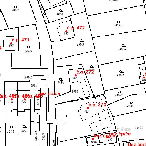 Katastrální mapa Stavební objekt Bor 372, Bor