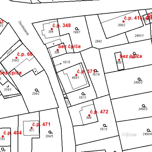 Katastrální mapa Stavební objekt Bor 371, Bor