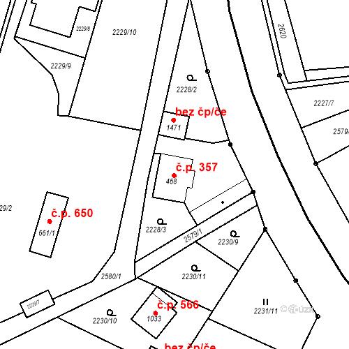 Katastrální mapa Stavební objekt Bor 357, Bor