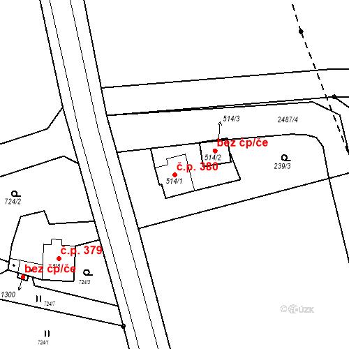 Katastrální mapa Stavební objekt Bor 380, Bor