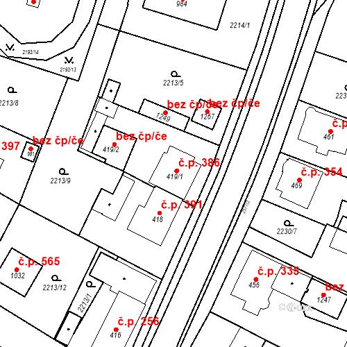 Katastrální mapa Stavební objekt Bor 386, Bor