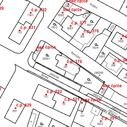 Katastrální mapa Stavební objekt Bor 375, Bor