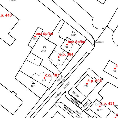 Katastrální mapa Stavební objekt Bor 384, Bor