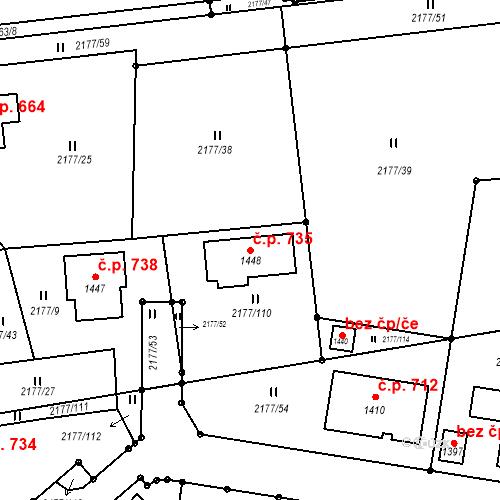 Katastrální mapa Stavební objekt Bor 735, Bor