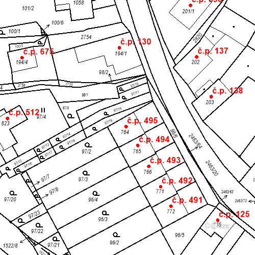 Katastrální mapa Stavební objekt Bor 495, Bor