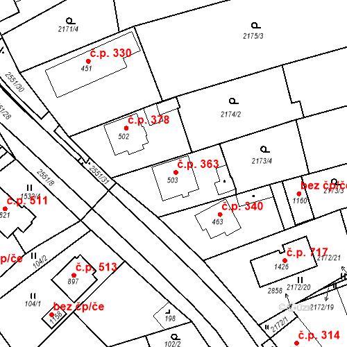Katastrální mapa Stavební objekt Bor 363, Bor
