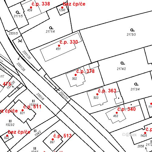 Katastrální mapa Stavební objekt Bor 378, Bor