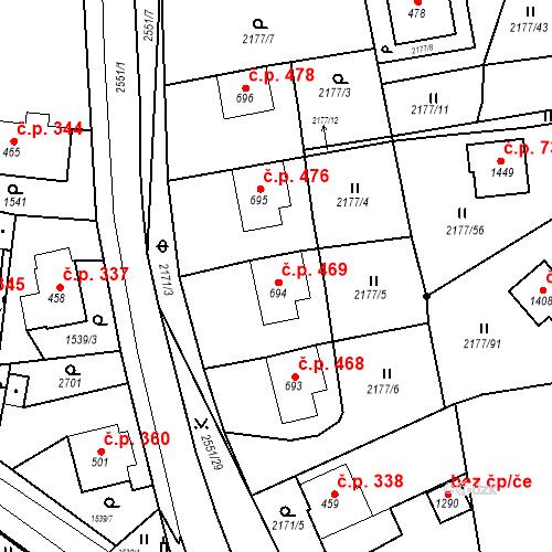 Katastrální mapa Stavební objekt Bor 469, Bor