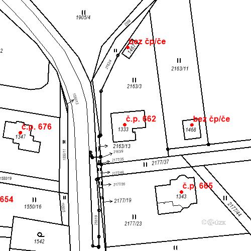 Katastrální mapa Stavební objekt Bor 662, Bor