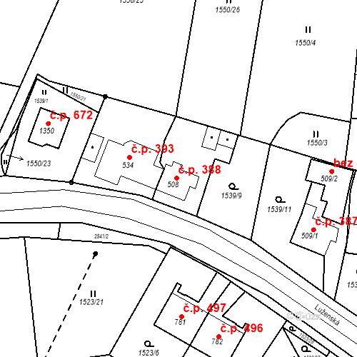 Katastrální mapa Stavební objekt Bor 388, Bor