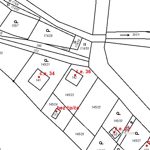Katastrální mapa Stavební objekt Chotěnov-Skláře 36, Mariánské Lázně