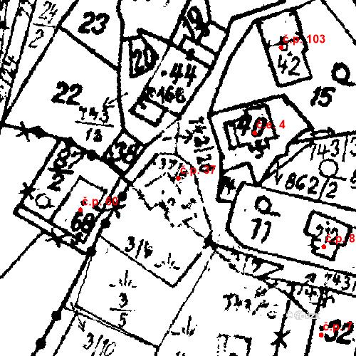 Katastrální mapa Stavební objekt Dolní Folmava 37, Česká Kubice