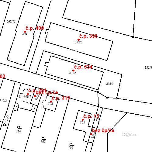 Katastrální mapa Stavební objekt Dolní Rychnov 534, Dolní Rychnov