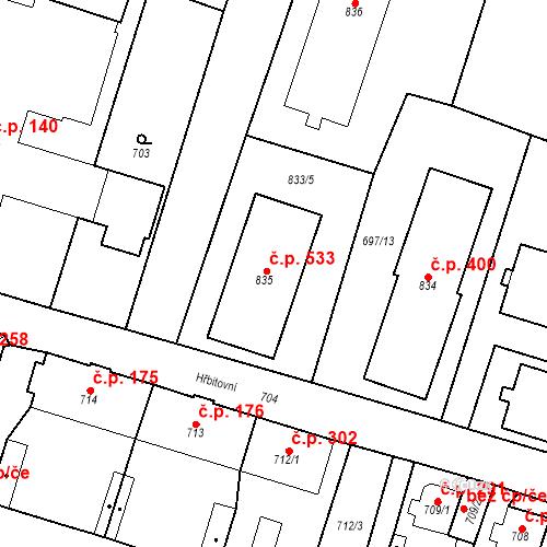 Katastrální mapa Stavební objekt Dolní Rychnov 533, Dolní Rychnov