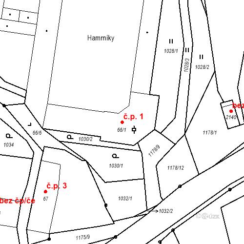 Katastrální mapa Stavební objekt Hamrníky 1, Mariánské Lázně