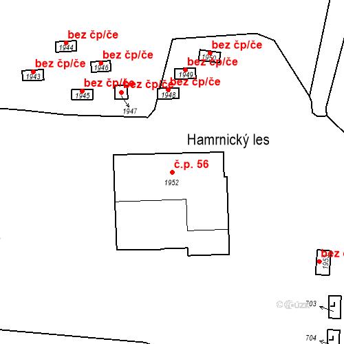 Katastrální mapa Stavební objekt Hamrníky 56, Mariánské Lázně