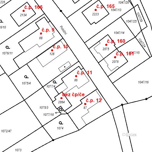 Katastrální mapa Stavební objekt Hamrníky 11, Mariánské Lázně