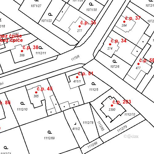 Katastrální mapa Stavební objekt Hamrníky 51, Mariánské Lázně