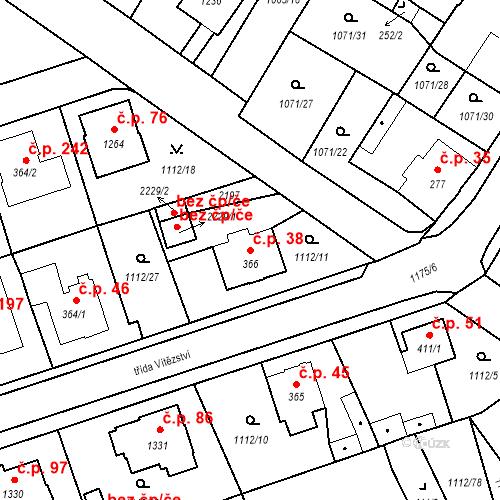 Katastrální mapa Stavební objekt Hamrníky 38, Mariánské Lázně
