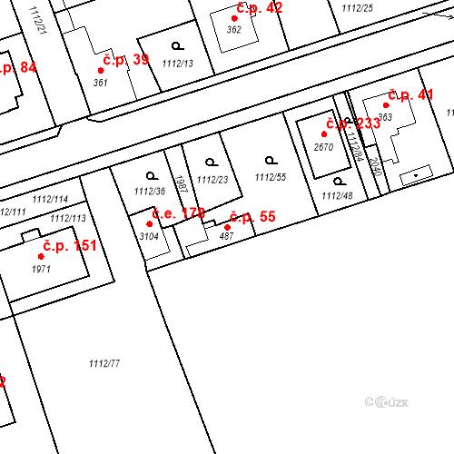 Katastrální mapa Stavební objekt Hamrníky 55, Mariánské Lázně