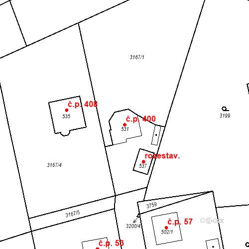 Katastrální mapa Stavební objekt Jindřichovice 400, Jindřichovice