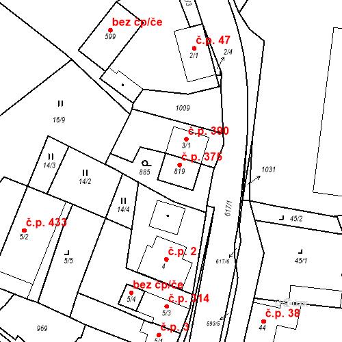 Katastrální mapa Stavební objekt Velká Hleďsebe 375, Velká Hleďsebe
