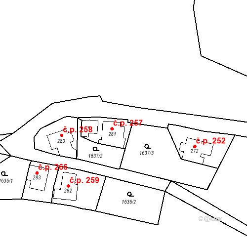 Katastrální mapa Stavební objekt Oloví 257, Oloví