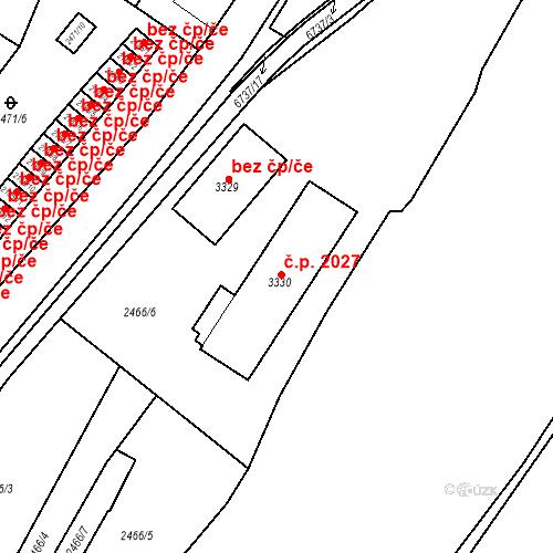 Katastrální mapa Stavební objekt Kraslice 1970, Kraslice