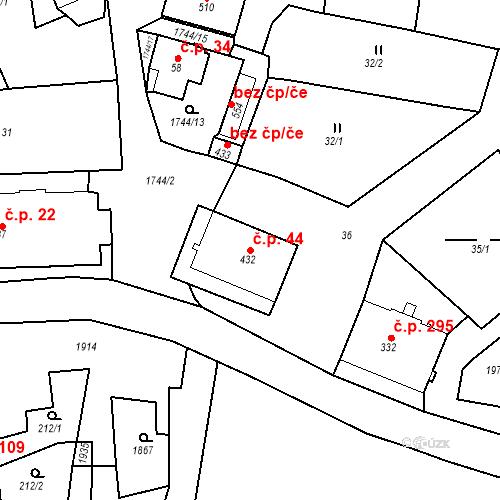Katastrální mapa Stavební objekt Krajková 44, Krajková