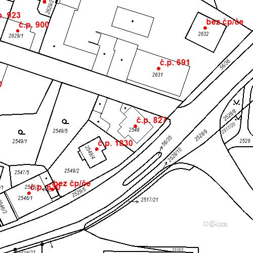 Katastrální mapa Stavební objekt Tachov 827, Tachov