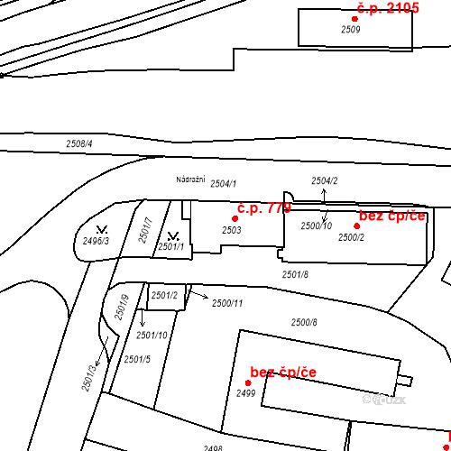 Katastrální mapa Stavební objekt Tachov 779, Tachov