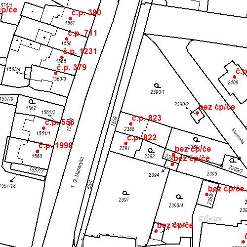 Katastrální mapa Stavební objekt Tachov 823, Tachov