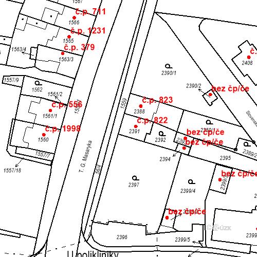 Katastrální mapa Stavební objekt Tachov 822, Tachov