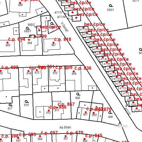 Katastrální mapa Stavební objekt Tachov 836, Tachov