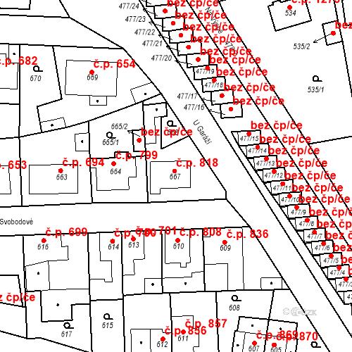 Katastrální mapa Stavební objekt Tachov 818, Tachov