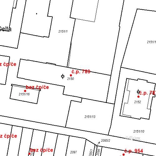 Katastrální mapa Stavební objekt Tachov 789, Tachov