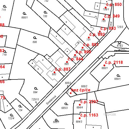 Katastrální mapa Stavební objekt Tachov 844, Tachov