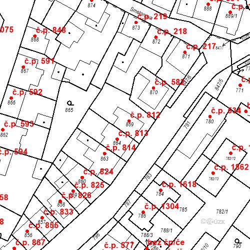 Katastrální mapa Stavební objekt Tachov 812, Tachov