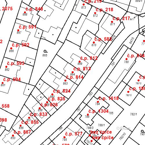 Katastrální mapa Stavební objekt Tachov 813, Tachov